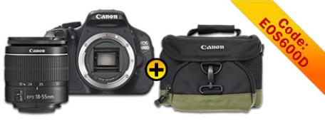 Canon EOS 600 D, Spiegelreflexkamera mit EF  S 18 55 mm DC III Objektiv, für 389€