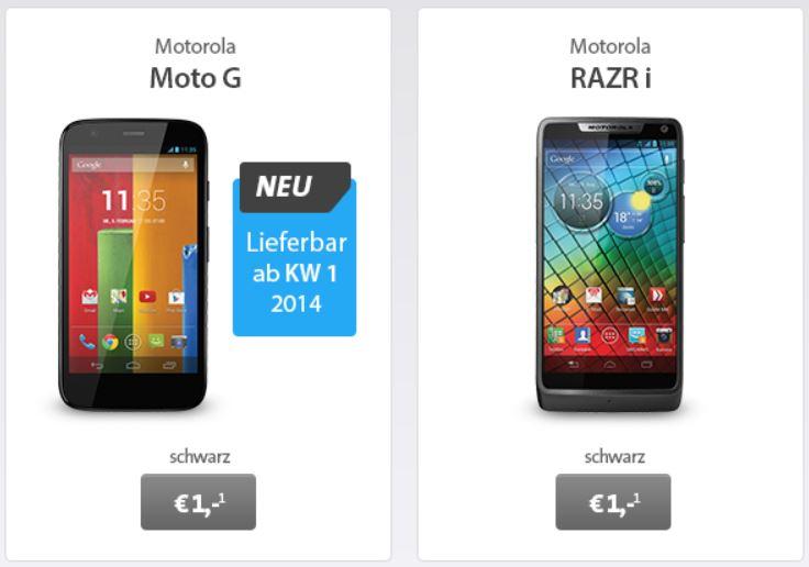Motorola Razr i für 1€ und andere gute Prämien dank kost nix Duo Verträge   Knaller UPDATE