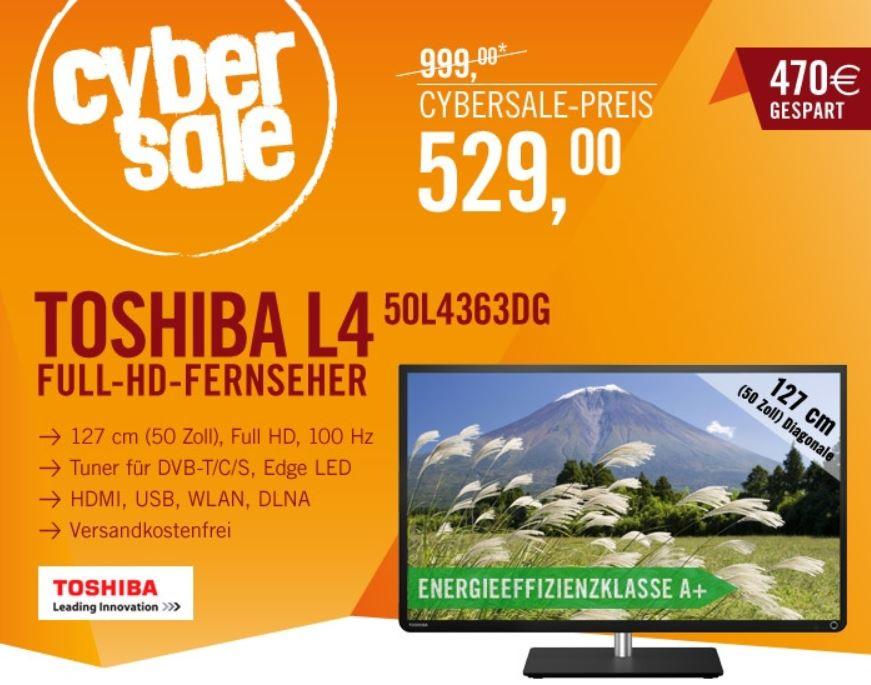 Toshiba 50L4363DG   50Zoll Smart TV mit triple Tuner für 529€