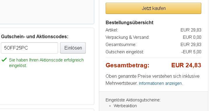 Fehler? 5€ Amazon Gutscheincode mit nur 25€ MBW