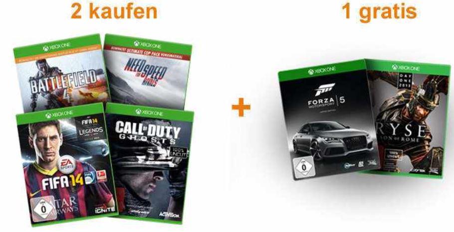 2 Xbox One Games bestellen + Gratis Forza Motorsport 5 oder Ryse: Son of Rome