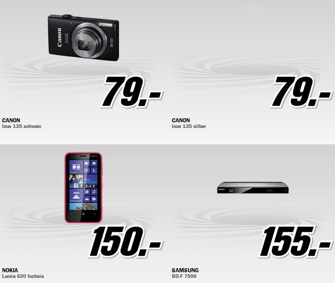 Canon IXUS 135 für 79€ und mehr beim MediaMarkt Adventskalender