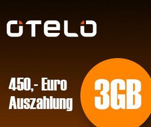 Knaller! otelo 3 GB Datenflat, dank Auszahlung für effektiv 1,24€ monatl.