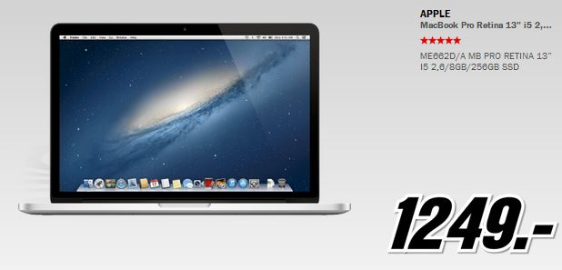 Apple Macbook Pro Retina 13″ für 1.249€ und mehr beim MediaMarkt Adventskalender