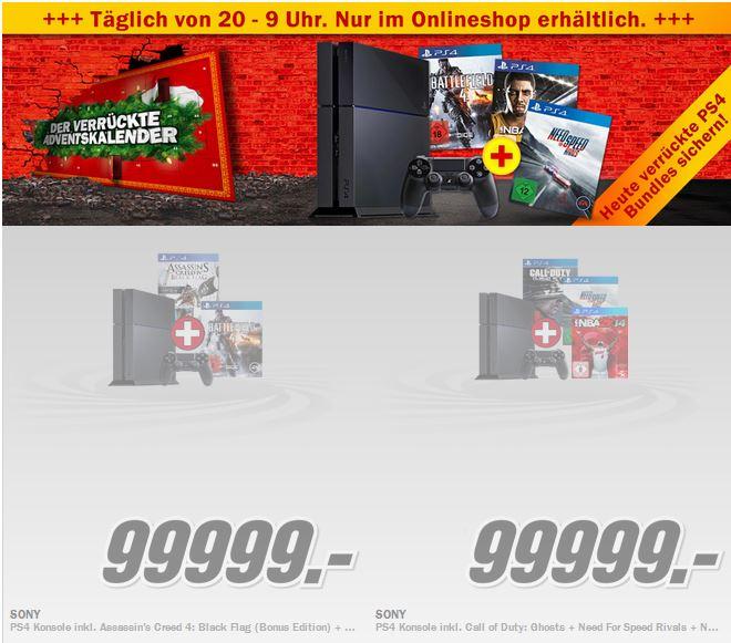 PlayStation 4 inkl. Games ab 519€ beim MediaMarkt Adventskalender