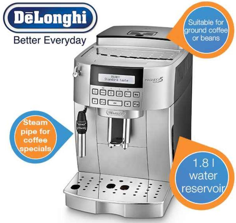 DeLonghi Magnificas ECAM22.320.SB   Kaffeevollautomat für 408,90€ (Vergleich 560,95€)