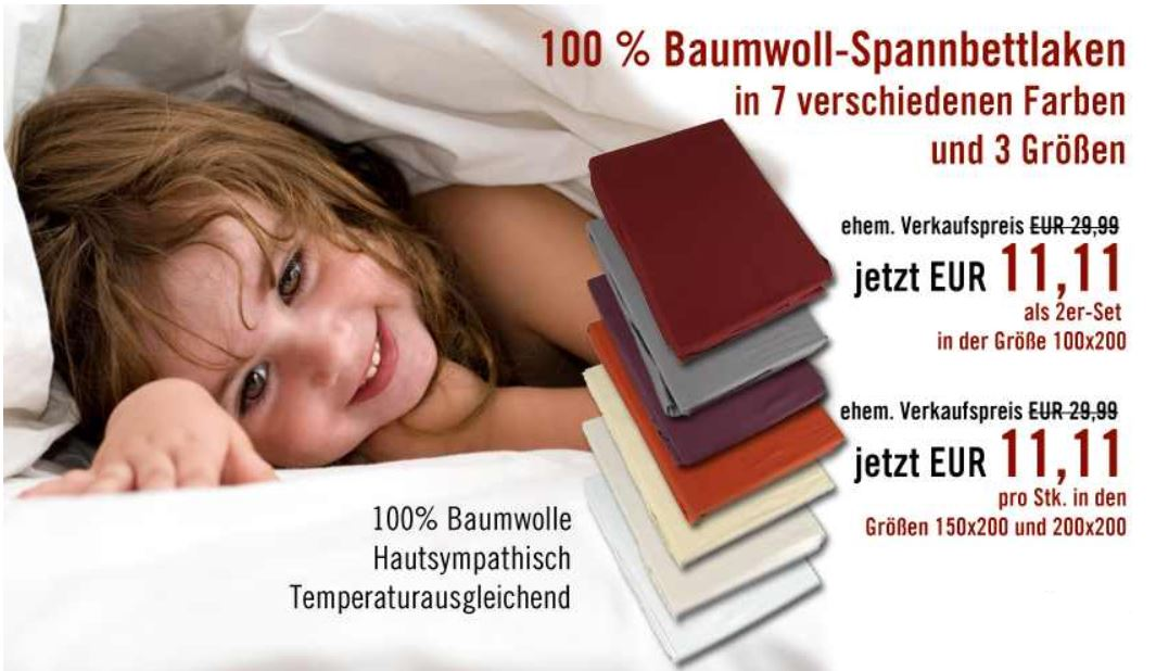 Spannbettlaken   Baumwolle 100x200, 150x200 200x200 für 11,11€ inkl Versand!