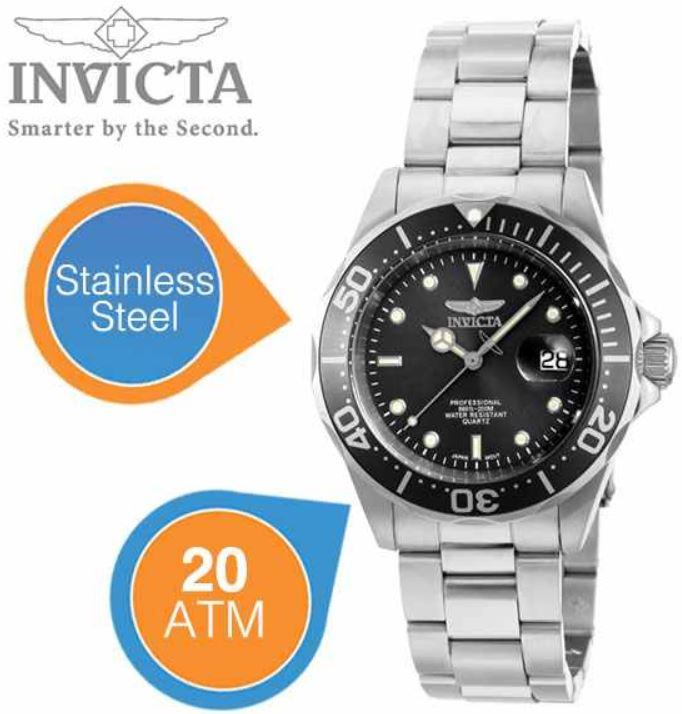 Invicta Pro Diver Uhr aus Edelstahl mit einer Wasserdichte bis 20 ATM für 55,90€