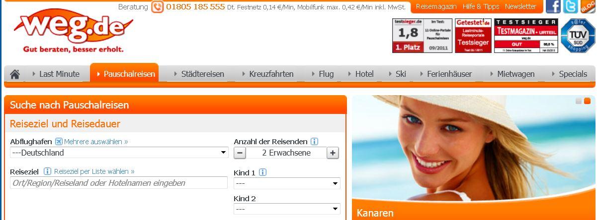 weg.de   90€ Gutschein für Pauschal & Last Minute Reisen für 9€   Update