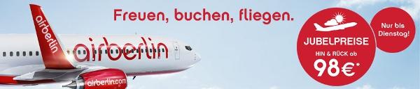 Air Berlin Jubelpreise   Hin  und Rückflüge ab 88€