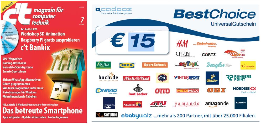 6 Ausgaben c't für 16,50€ +15€ Amazon Gutschein (z.B.)