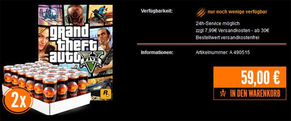 GTA V (PS3) + 2 x 24 Dosen Raubtierbrause Energydrink für 59€