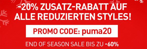 Update! PUMA End of Season Sale mit bis zu 60% Rabatt + 20% Rabatt extra