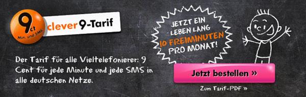 callmobile clever 9 Simkarte für 2,95€ mit effektivem Gewinn   dank 18€ Amazon Gutschein und 10€ Startguthaben