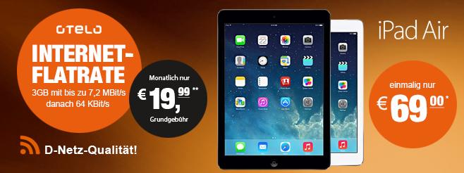Otelo 3 GB Datenflat nur 19,99€/Monat mit iPad Air