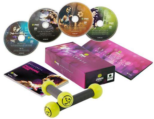 Zumba Fitness Exhilarate mit 2 Toning Sticks 4 DVD Programm Workouts für 44,95€