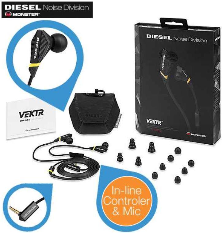 Monster Diesel VEKTR Ultra Performance   In Ear Kopfhörer mit Fernbedienung für 32,89€   Update