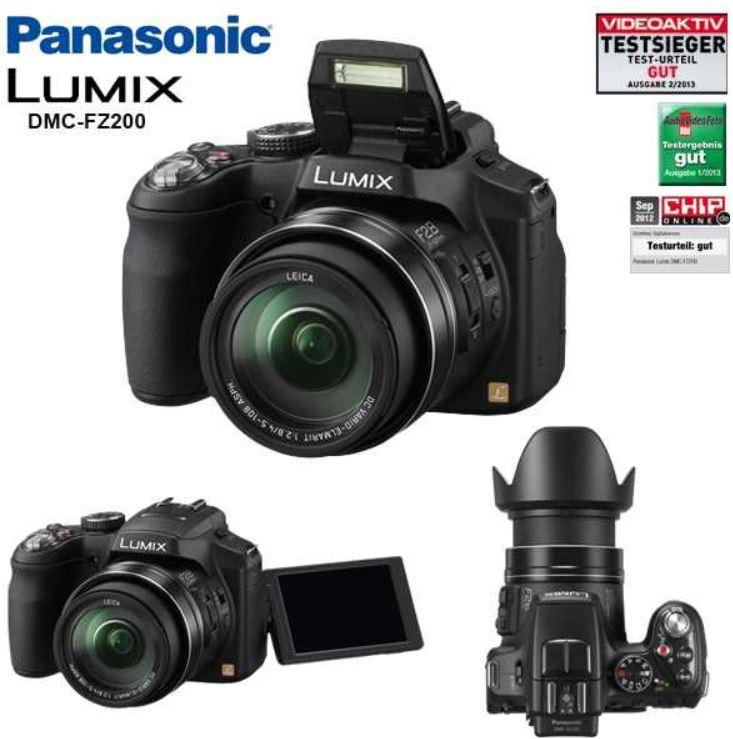 Panasonic Lumix DMC FZ200   Lichtstarke Bridge Kamera für 285,63€   Update!