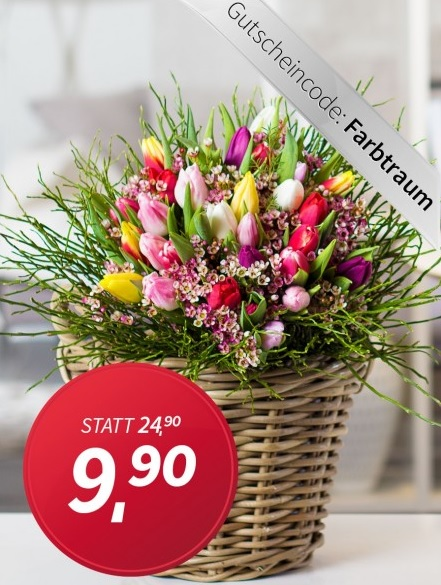 Strauß mit 15 bunten Tulpen für 15€