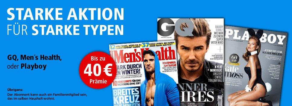 Jahresabo der Zeitschrift Men´s Health für 54€ + 40€ Gutschein & 5€ Rabatt