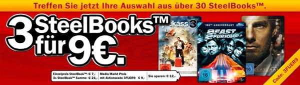 3 Steelbooks für 9€ bei Media Markt
