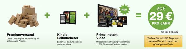 Amazon Prime ab 26. Februar mit Instant Video Streaming   jetzt noch für 29€ im Jahr