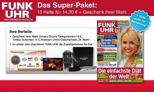 8 Wochen Abo der Funk Uhr für 14,30€   mit effektiv 0,70€ Gewinn dank Gutschein   Update!