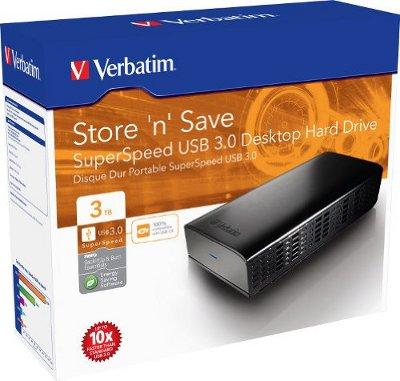 Verbatim Store n Save SuperSpeed für 89,90€   externe USB 3.0 3TB Festplatte