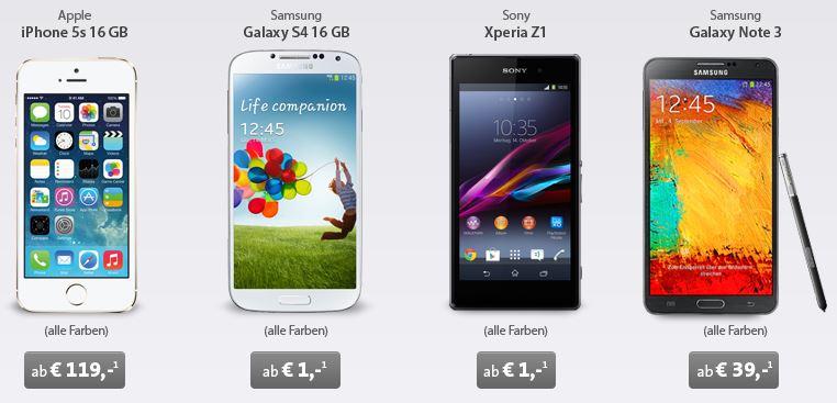 Smartphones wie Nokia Lumina 1320 oder HTC one max zu Top Preisen mit All Net oder Einsteiger Vertrag!