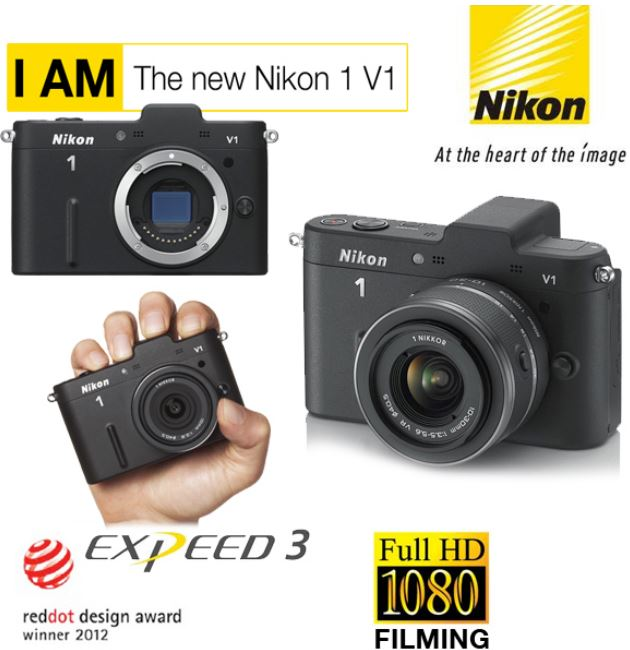 Nikon 1 V1 Systemkamera mit 10 30mm Objektiv in Schwarz für 255,90€   Update!