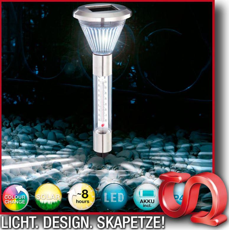 Edelstahl LED Solarlampe mit Thermometer & Farbwechsel für nur 5,99€ inkl. Versand