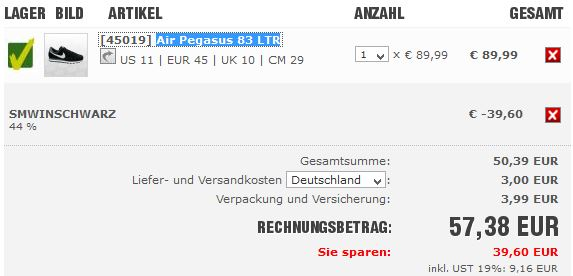 SC24.com   heute 44% Olympia Rabatt z. B. Nike Air Pegasus 83 LTR für 57,38€