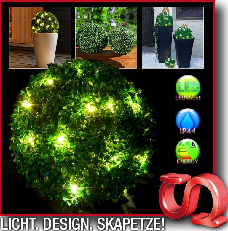 LED Buchsbaum BUX Ø20cm   15flammig, für aussen und innen nur 6,99€ inkl. Versand