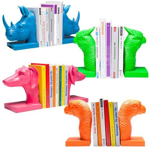 KARE Design   knallbunte Buchstützen, Vogel, Hund, Rhino, Papagei, für je 16,95€