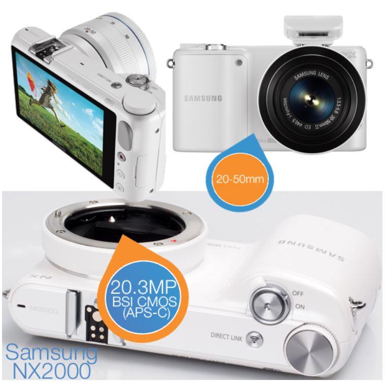 Samsung NX 2000   20.3 MP Systemkamera, Full HD Video und 20 50mm Objektiv für 265,90€