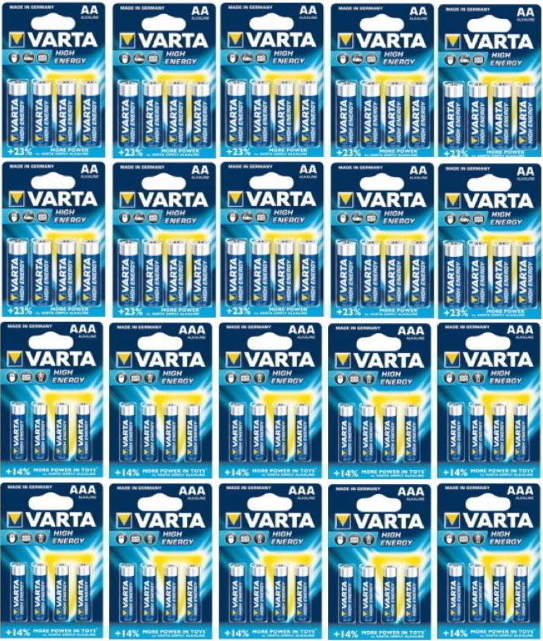 Varta High Energy   80 Alkaline Batterien (40x AA Mignon + 40x AAA Micro) für 26,99€   wieder da!