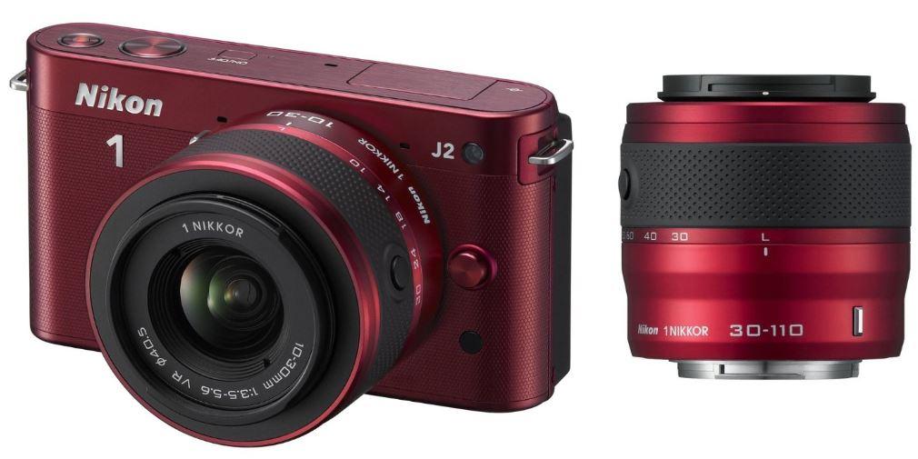 NIKON 1 J2 Systemkamera im Kit mit VR 10 30mm und 30 110mm Objektiv für ~370€