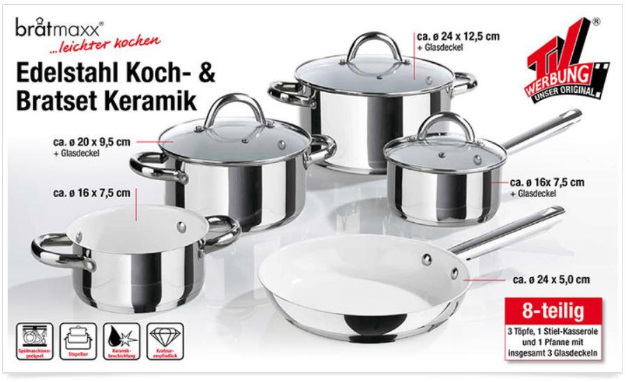 bratmaxx   8teiliges Keramik Edelstahl Kochset auch Induktion geeignet für 49,95€