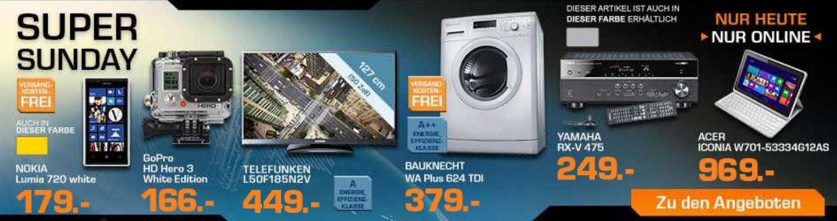 GOPRO Hero3 White Edition für 166€ und mehr SATURN Super Sunday Angebote   Update!