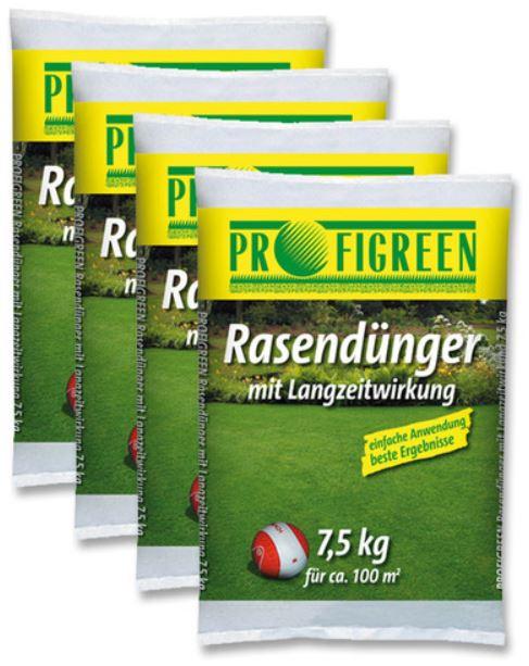 30kg Rasendünger mit Langzeitwirkung (4 x 7,5kg) für 19,99€