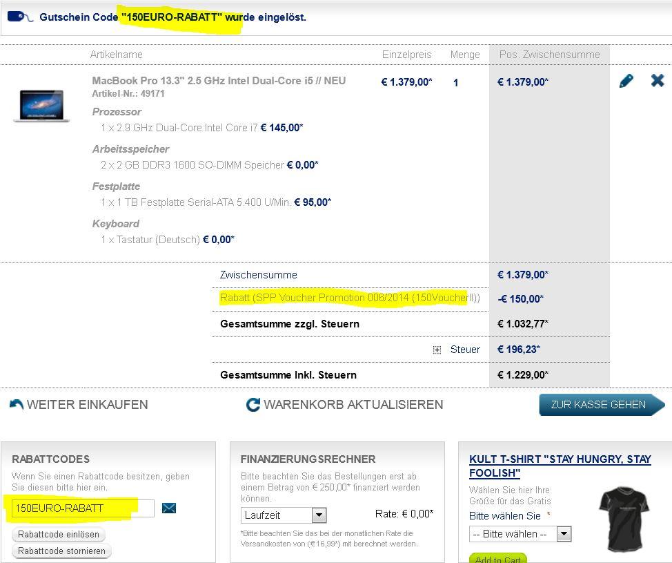 150€ Sofort Rabatt auf ausgewählte iMac und MacBook Pro