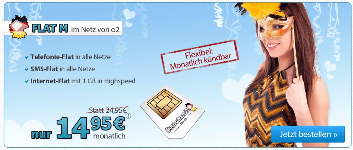 DeutschlandSIM Telefon FLAT M inkl. SMS & 1GB Daten Flat nur 14,95 € monatlich kündbar