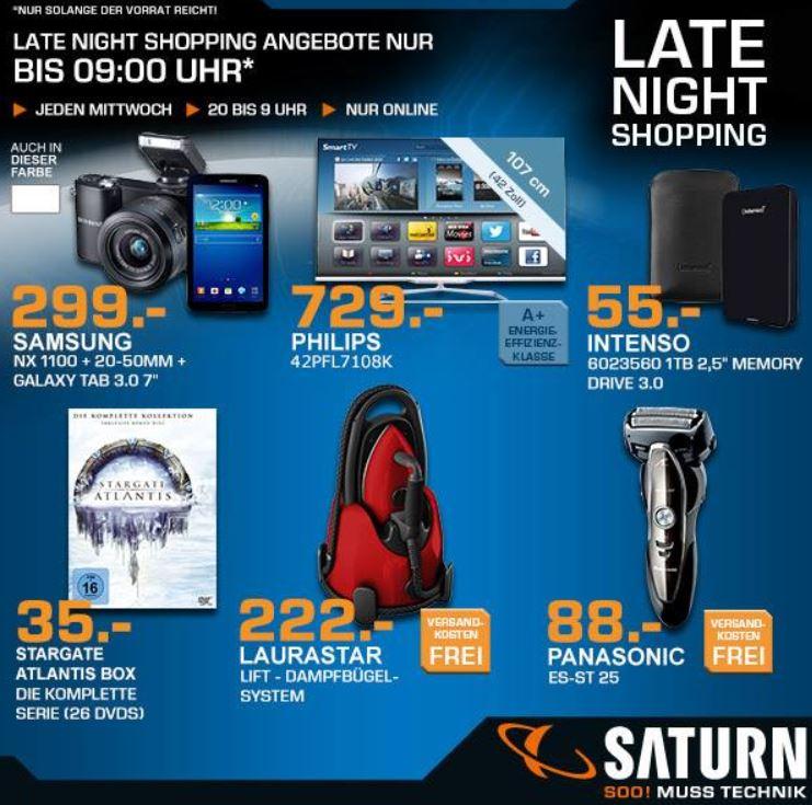 SAMSUNG NX 1100 Digicam + Galaxy Tab 3 7.0 für 299€ beim Saturn Late Night Sale