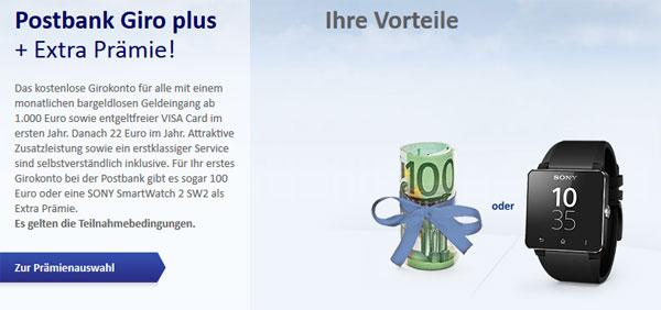 100€ Startguthaben für Postbank Giro Plus Konto   oder Sony SmartWatch 2 SW2 im Wert von 123€   Update