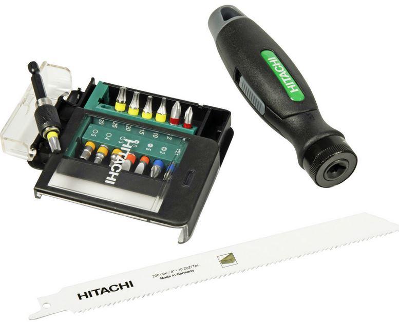 Hitachi 40018019   17 teiliges Bitset mit Griff und Säge für 19,90€
