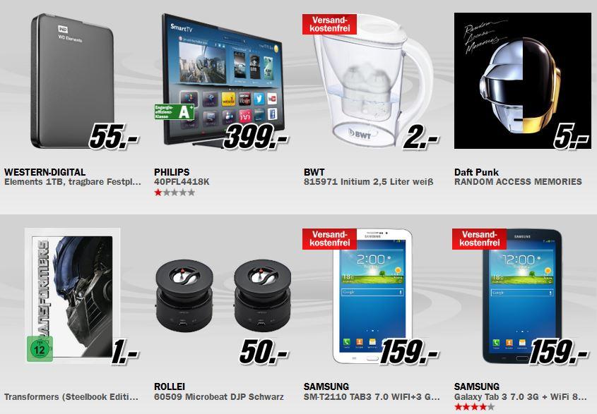 Samsung Galaxy Tab 3 (7.0) 8GB 3G für 159€ bei der täglichen MediaMarkt Aktion