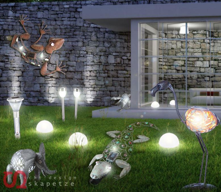 Solar LED Tier und Gartenlampen   diverse Modelle für je 9,99€