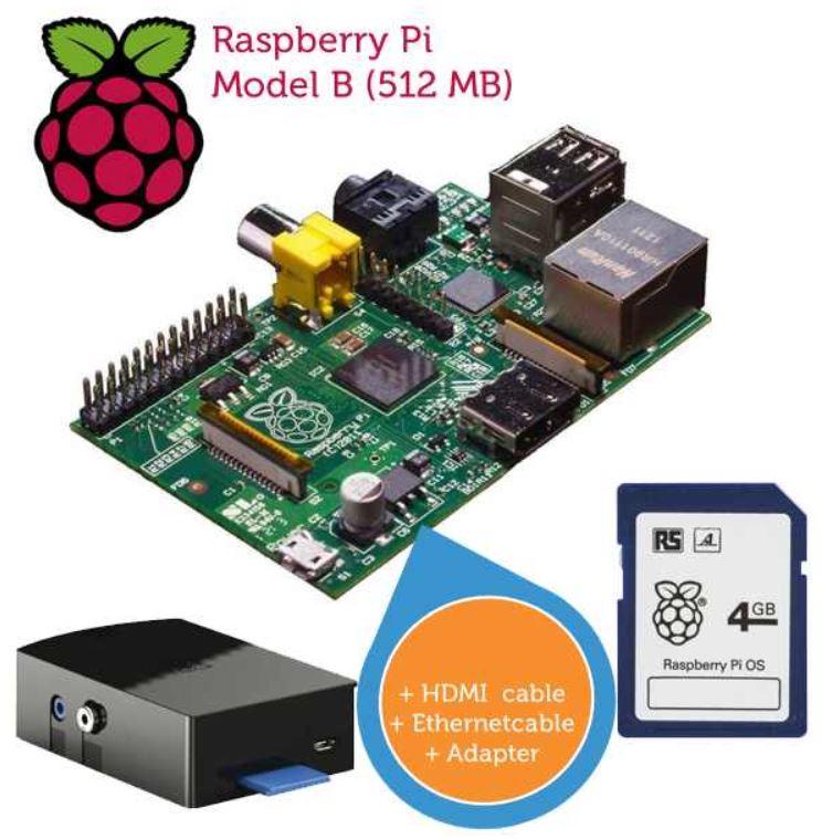 Raspberry Pi im media kit mit Kabeln und SD Karte für 55,90€
