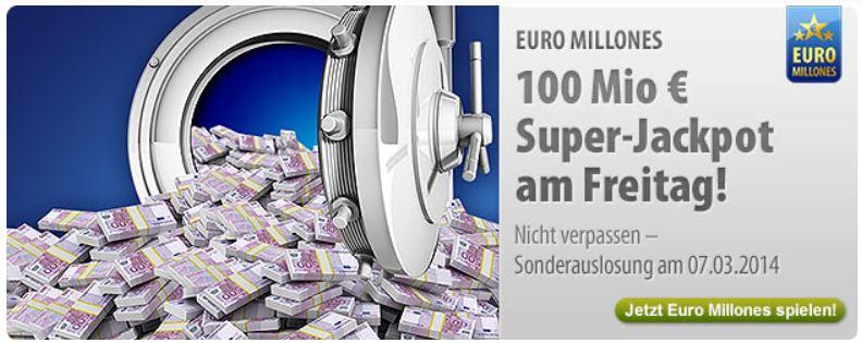 100 Mio.€ Jackpot bei Euro Millones:   mit 5€ Rabatt 3 Felder spielen   auch für Bestandskunden
