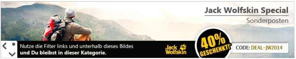 Jack Wolfskin   40% Rabatt auf ausgewählte Artikel bei mysportworld und bis 60% im Sale